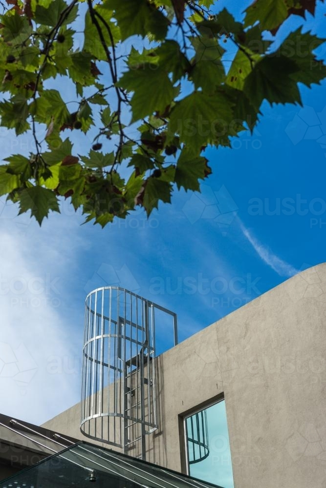 ladder leading to the rooftop - Australian Stock Image