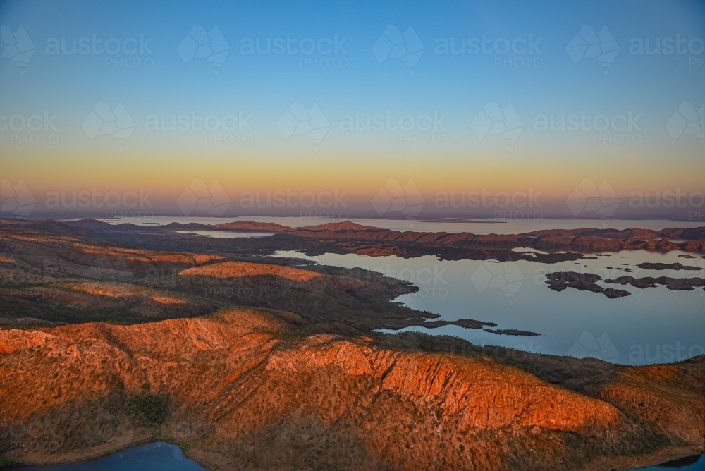 Lake Argyle at sunset from the air - Australian Stock Image