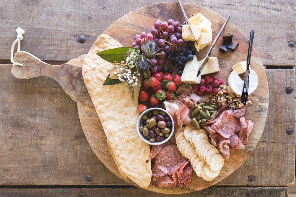 Large Rustic Grazing Platter on Cutting Board - Australian Stock Image