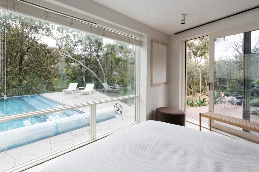 Large windows showing an amazing view to pool and garden in luxury home - Australian Stock Image