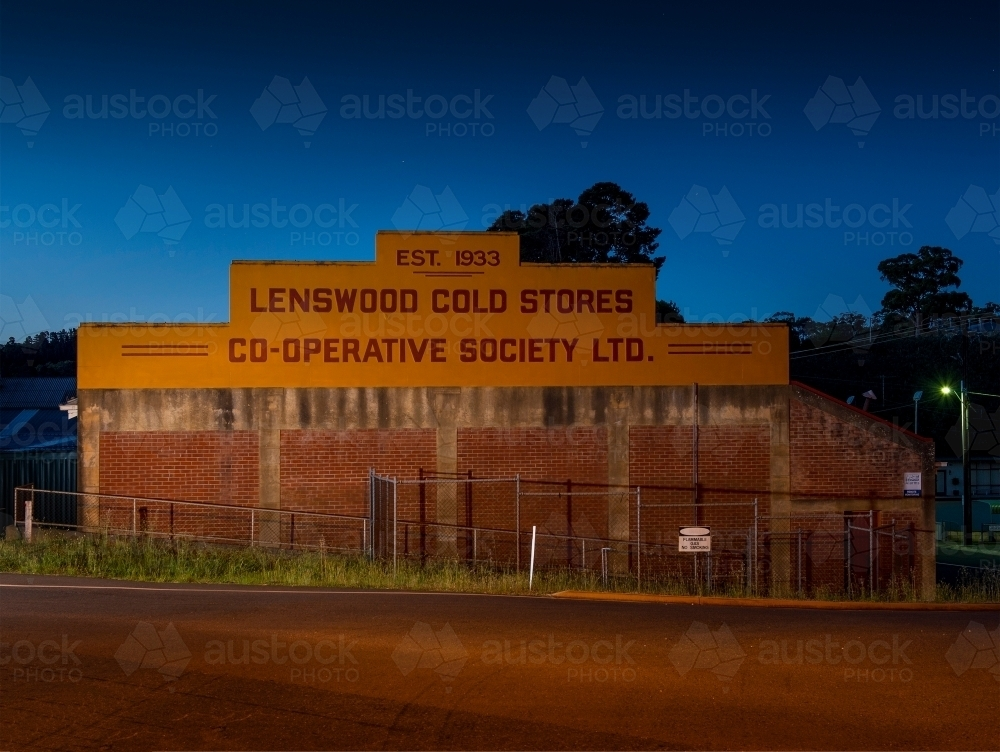 Lenswood apples building at night - Australian Stock Image