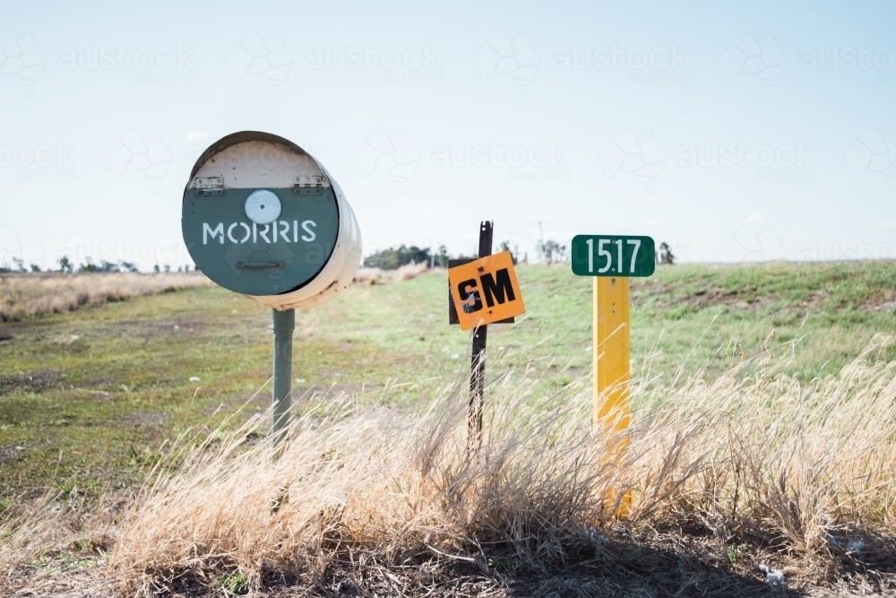 Letterboxes beside rural road - Australian Stock Image