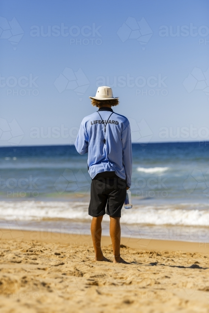 Lifegaurd on duty at beach - Australian Stock Image