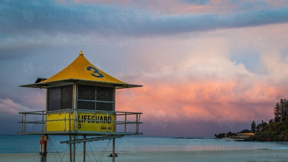 7ecf7db2689 Lifeguard tower overlooking beach - Australian Stock Image