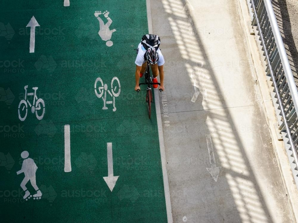 Looking down on cyclist on bikeway - Australian Stock Image