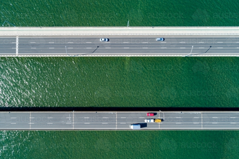 Looking down on traffic on two bridges. - Australian Stock Image