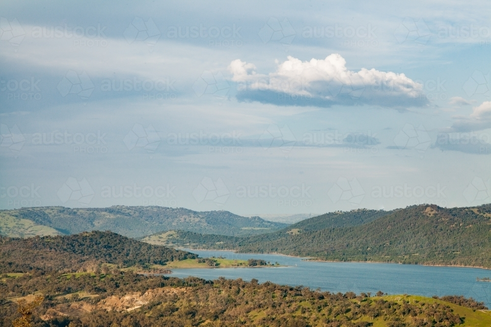 Looking down over a lake at midday - Australian Stock Image