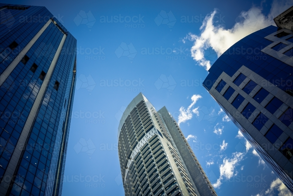 Looking up at Sydney city skyscrapers - Australian Stock Image