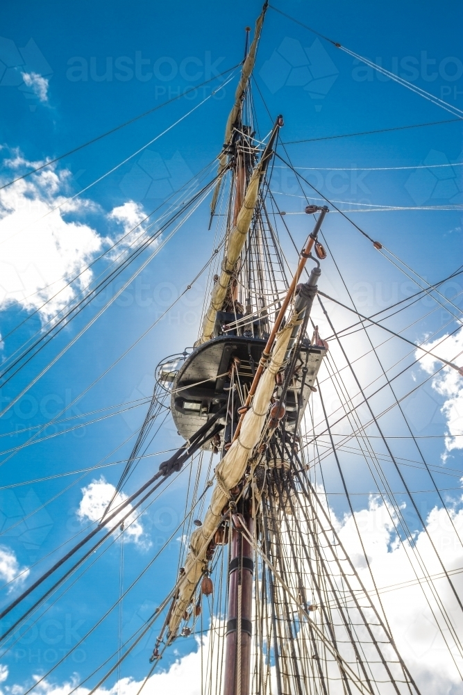 Mainmast of the HMB ENDEAVOUR replica at the Maritime Museum - Australian Stock Image