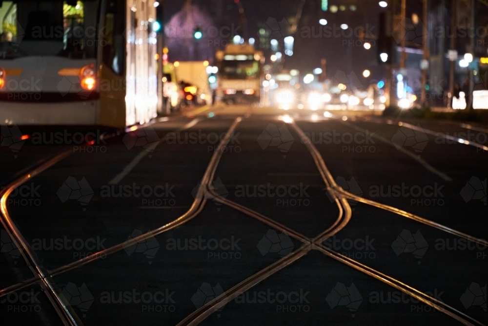 Melbourne streets at night with trams - Australian Stock Image