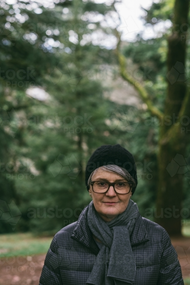 Middle-aged woman wearing winter apparel - Australian Stock Image