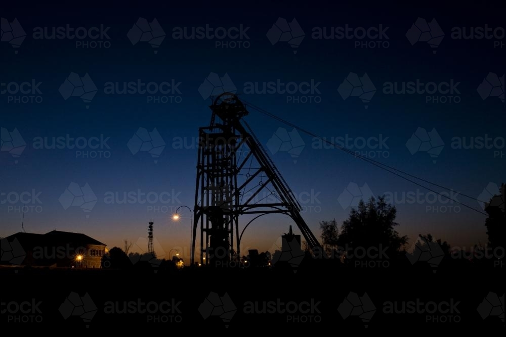 Mining Equipment at dusk in Cobar township - Australian Stock Image