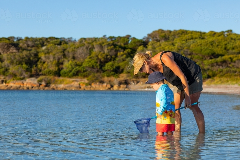 mother and child wading in water with scoop net - Australian Stock Image