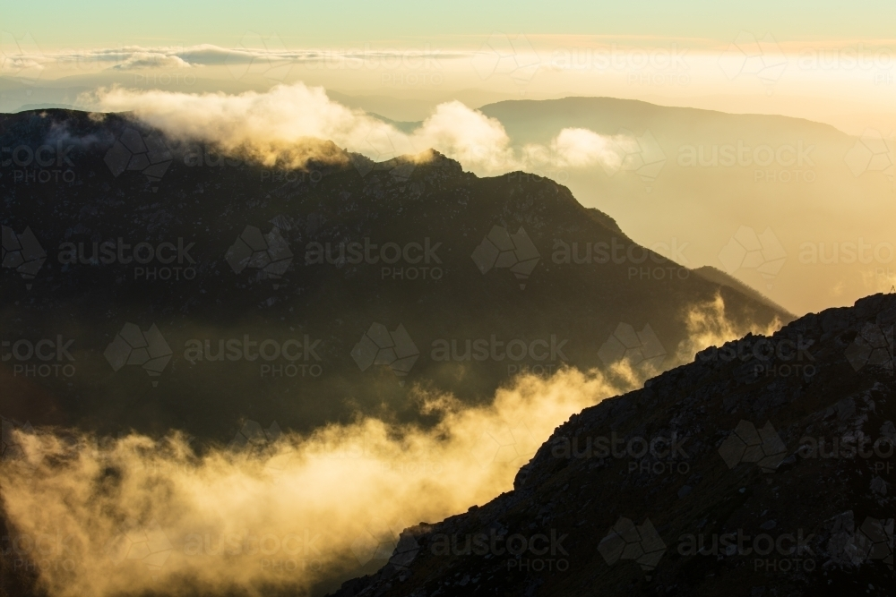 Mountains and clouds in the Australian Alps - Australian Stock Image