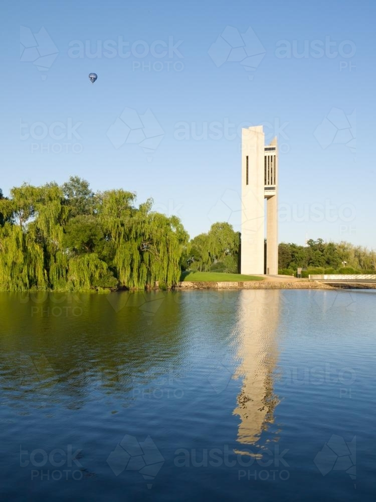 National Carillon tower beside Lake Burley Griffin - Australian Stock Image