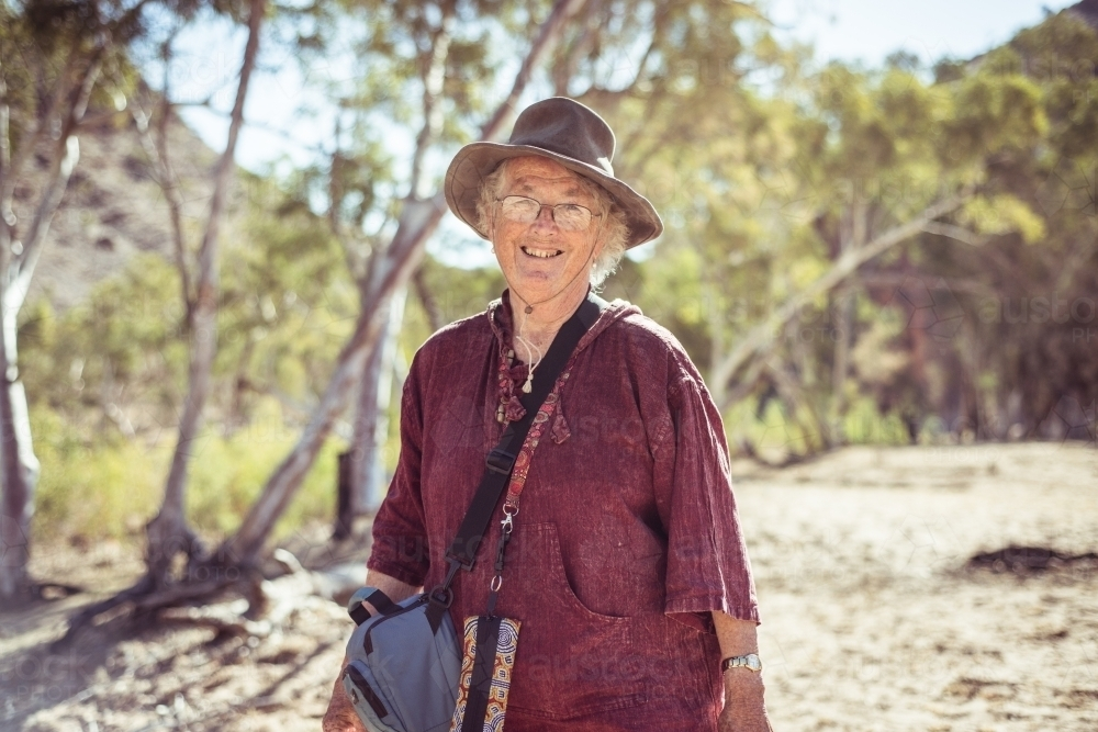 Portrait of an elderly woman in the Northern Territory - Australian Stock Image
