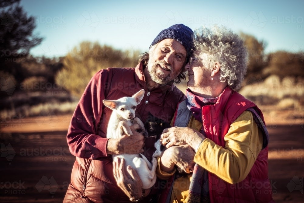 Happy elderly couple in the Northern Territory - Australian Stock Image