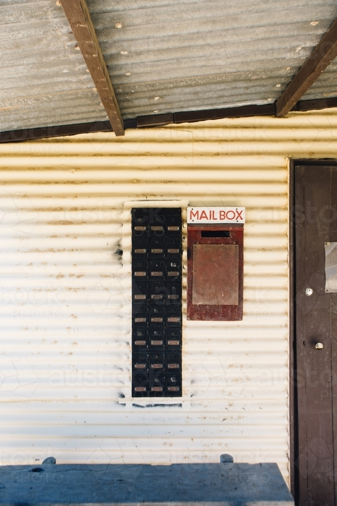 Old weatherboard post office building with mailbox - Australian Stock Image
