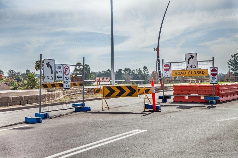 One way, road closed, road work signs - Australian Stock Image