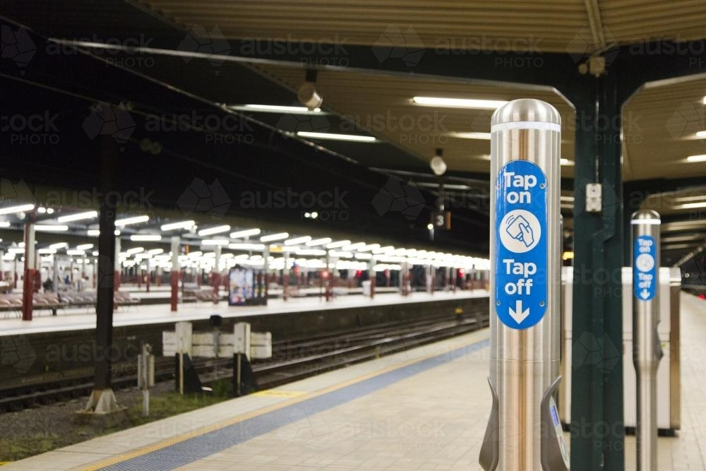 Opal card tap on and tap off point, Central Railway Station - Australian Stock Image