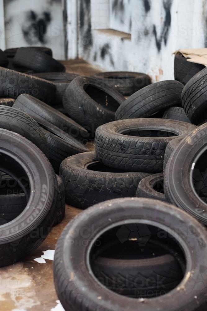 Pile of old tyres - Australian Stock Image