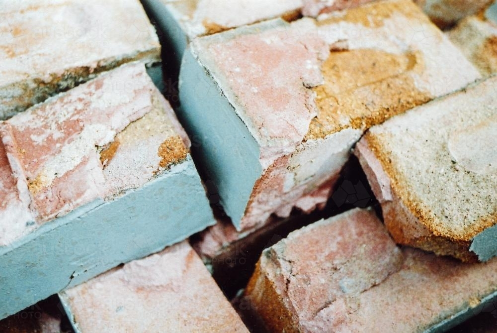Pink and Blue Bricks and Rubble - Australian Stock Image