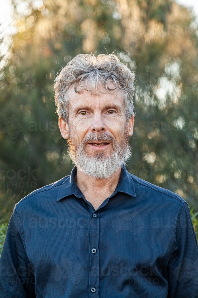 Portrait of a bearded middle aged man outside - Australian Stock Image