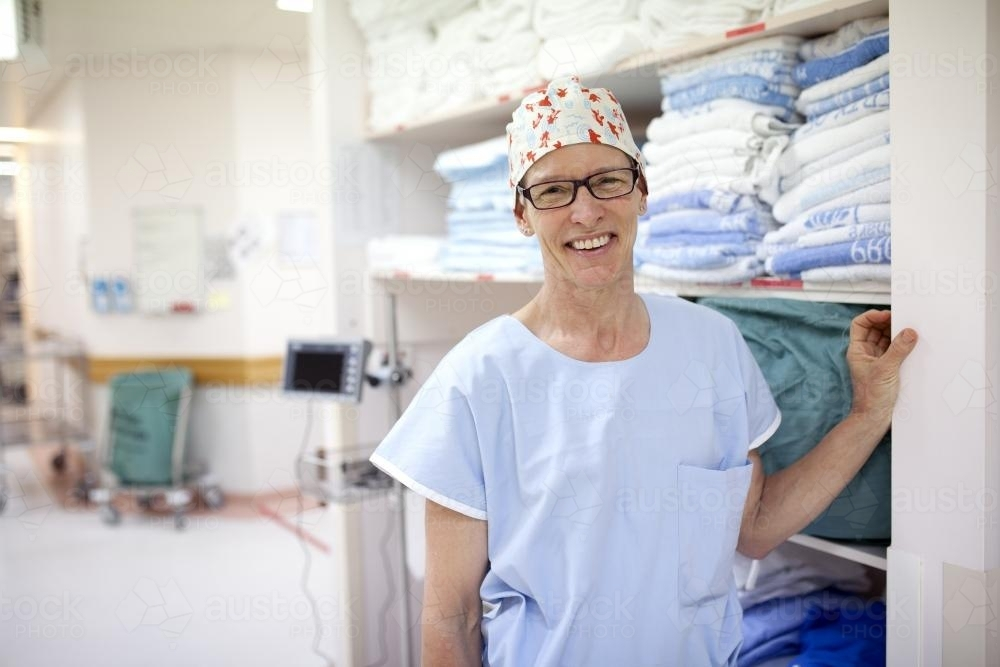 Portrait of a theatre nurse in a hospital operating theatre - Australian Stock Image