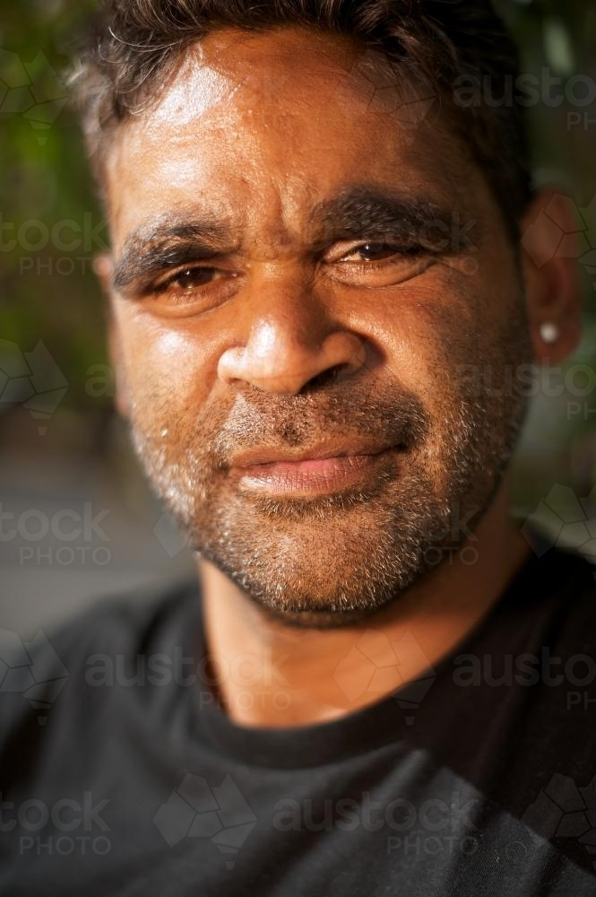 Portrait of an Indigenous Australian Young Man - Australian Stock Image