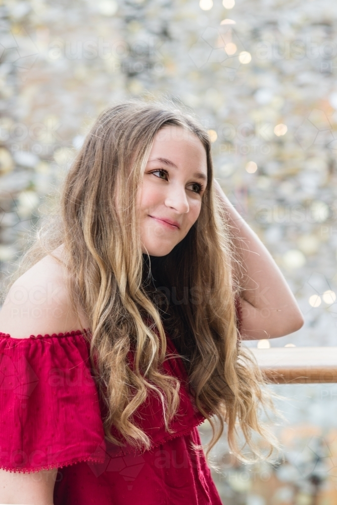 Image of portrait of pretty 15 year old girl - Austockphoto