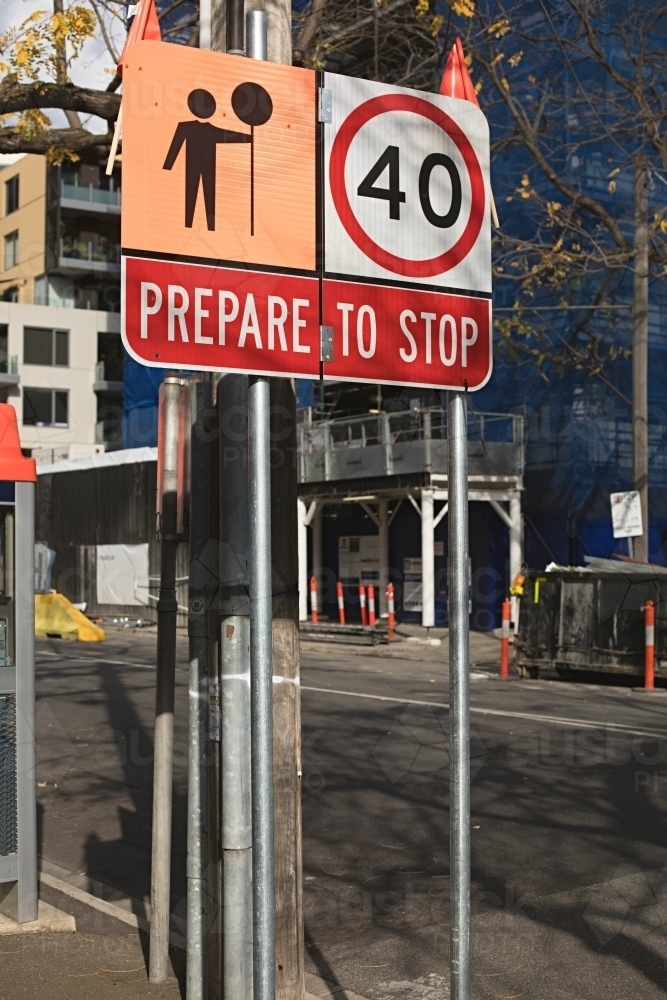 Prepare to stop sign - Australian Stock Image