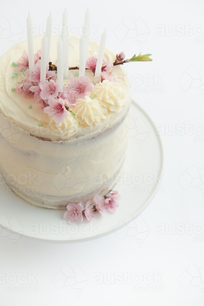 Pretty Birthday Cake With Spring Blossom And Candles
