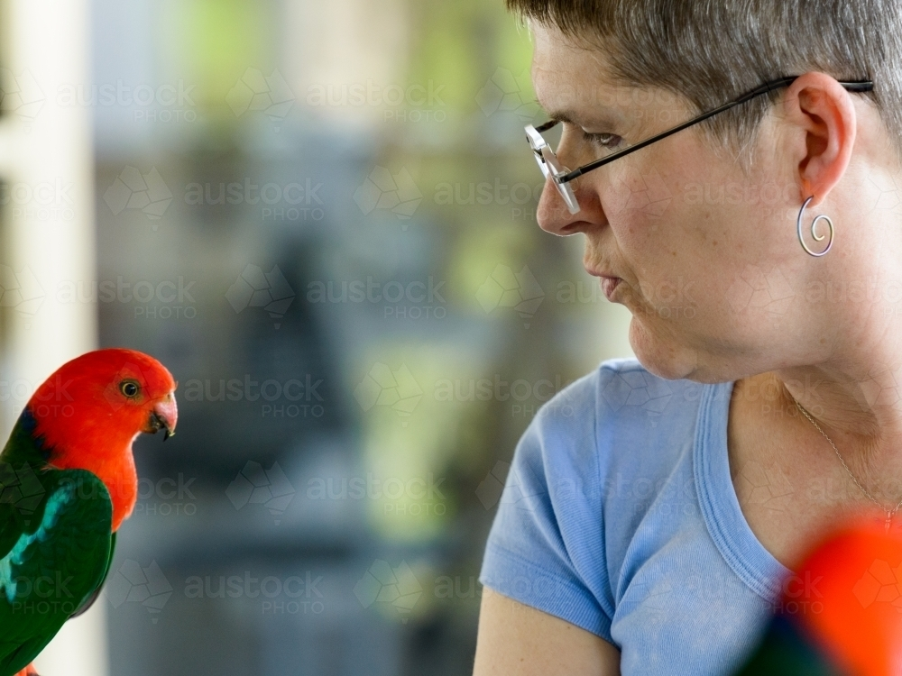 Profile of a woman interacting with a King Parrot with blurred background - Australian Stock Image