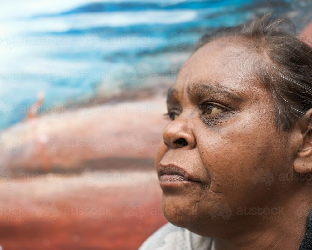 Profile of an Indigenous Australian Woman - Australian Stock Image