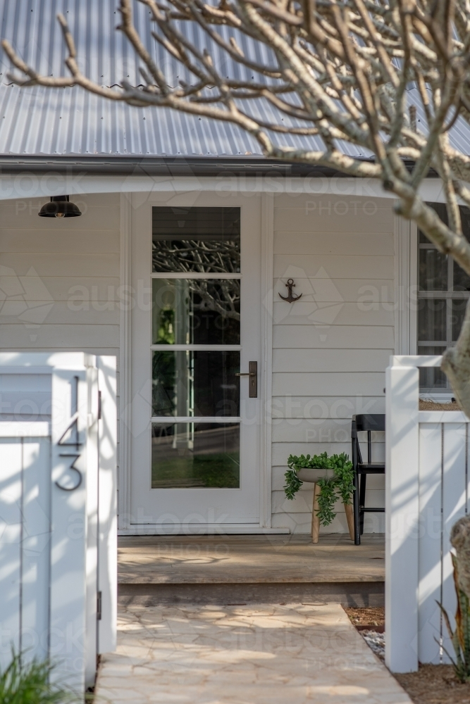 Quaint White Cottage Entrance - Australian Stock Image