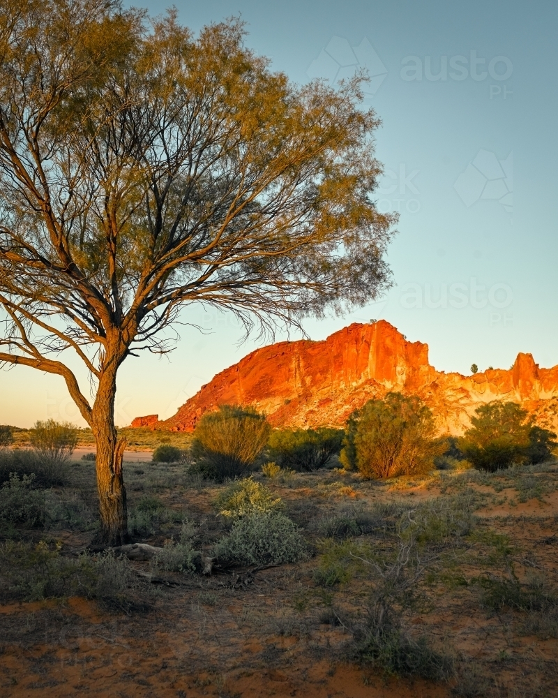 Rainbow Valley at sunset - Australian Stock Image