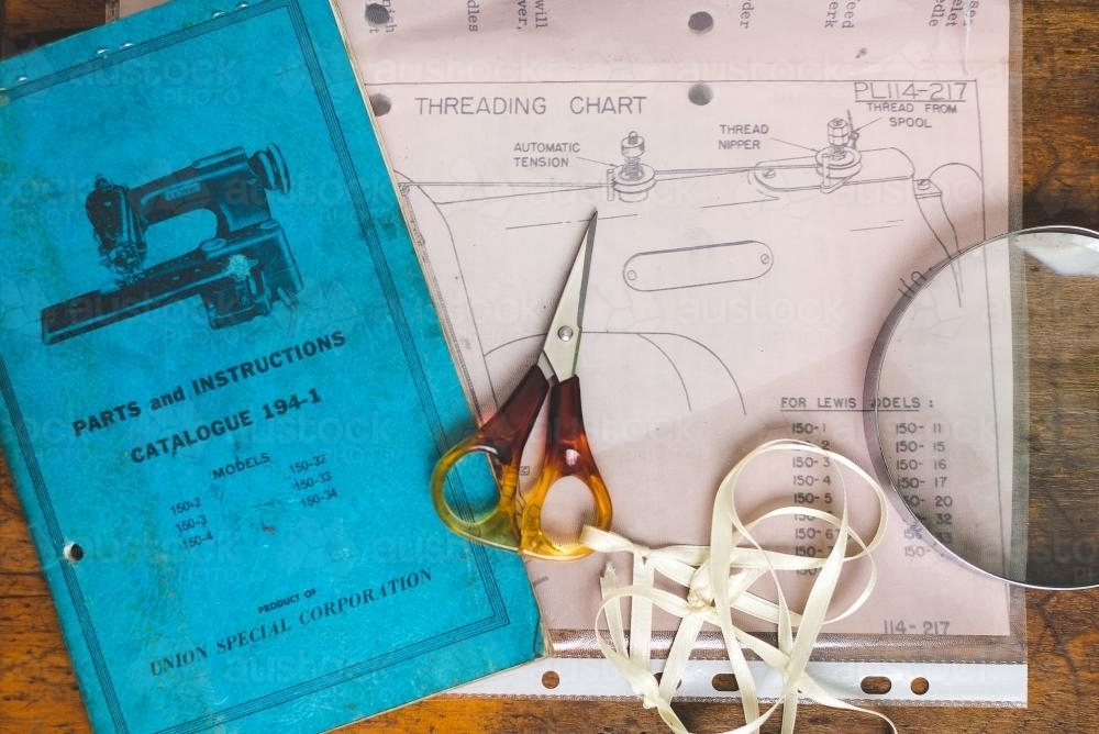 Retro sewing machine paraphernalia - Australian Stock Image