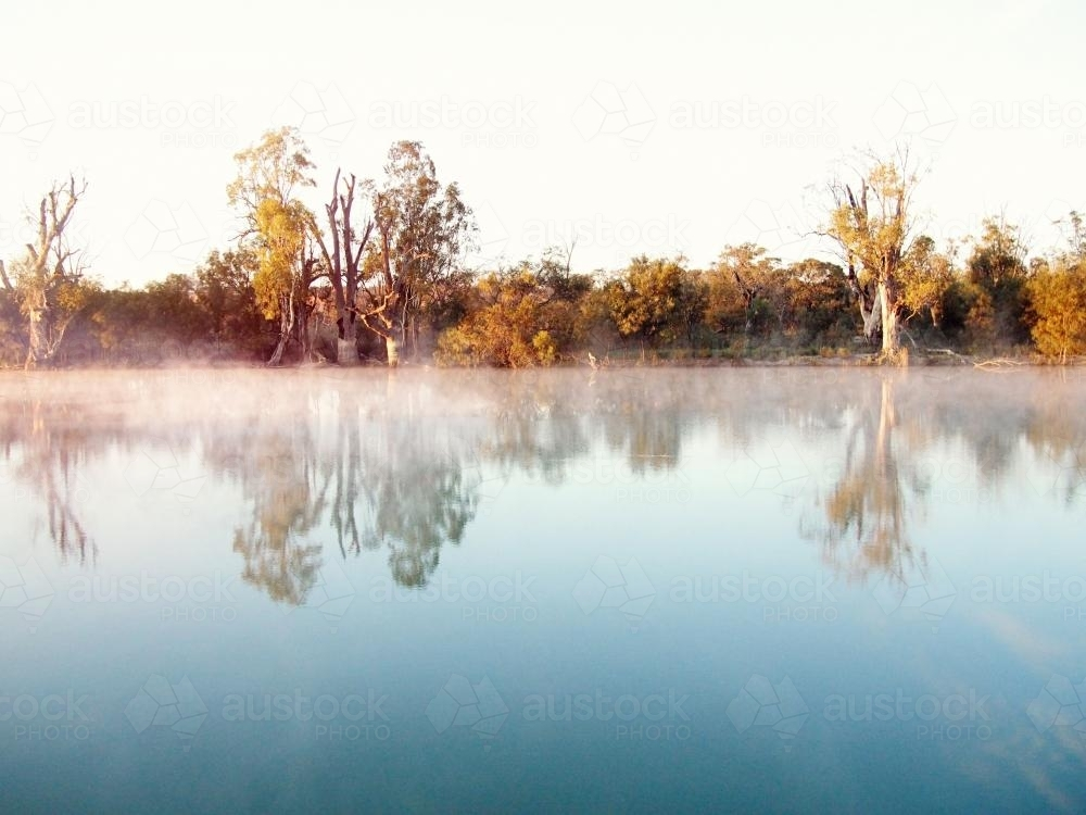 River and trees at sunset with fog - Australian Stock Image