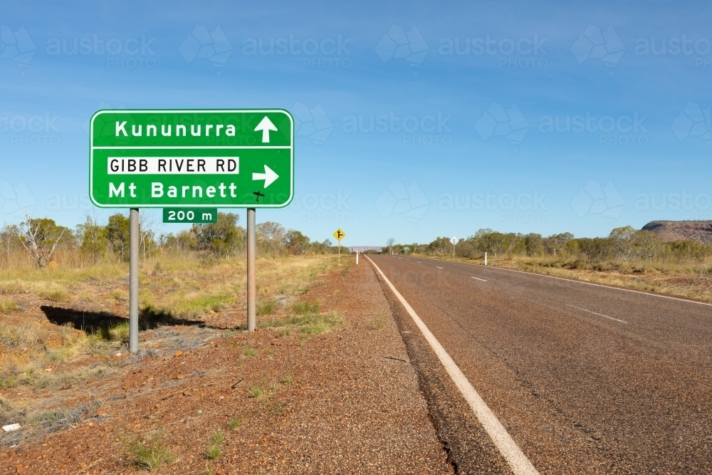 road sign on Victoria Highway at Gibb River Road turnoff - Australian Stock Image