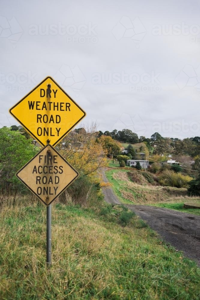 Road sign warning of hazard on country road - Australian Stock Image
