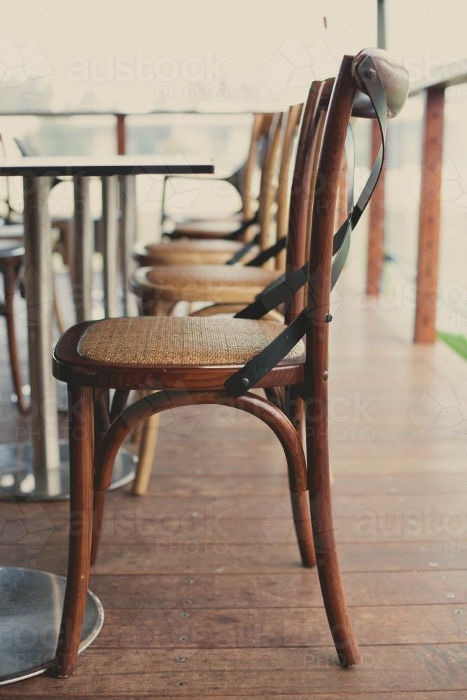 Row of chairs at a restaurant - Australian Stock Image