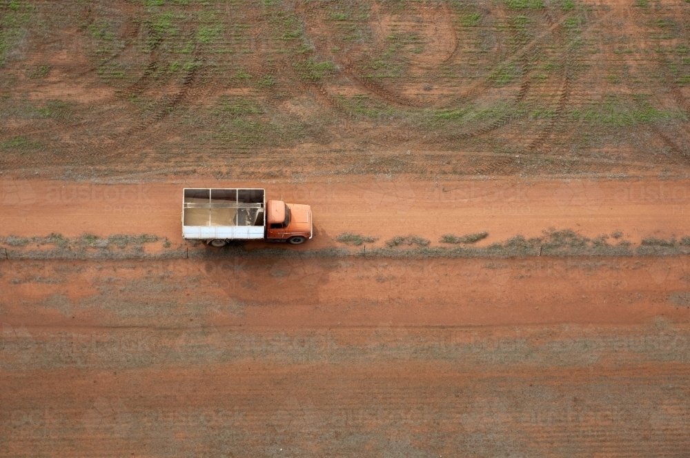 Rural Outback Aerial Landscape with Farm Truck - Australian Stock Image