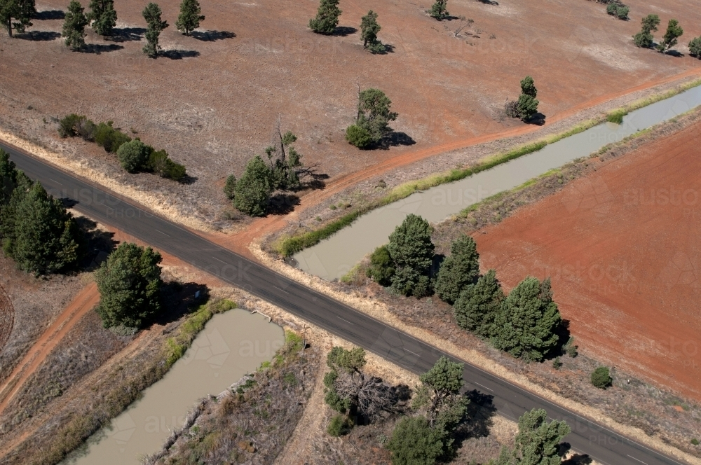 Rural Outback Aerial Landscape With Irrigation - Australian Stock Image