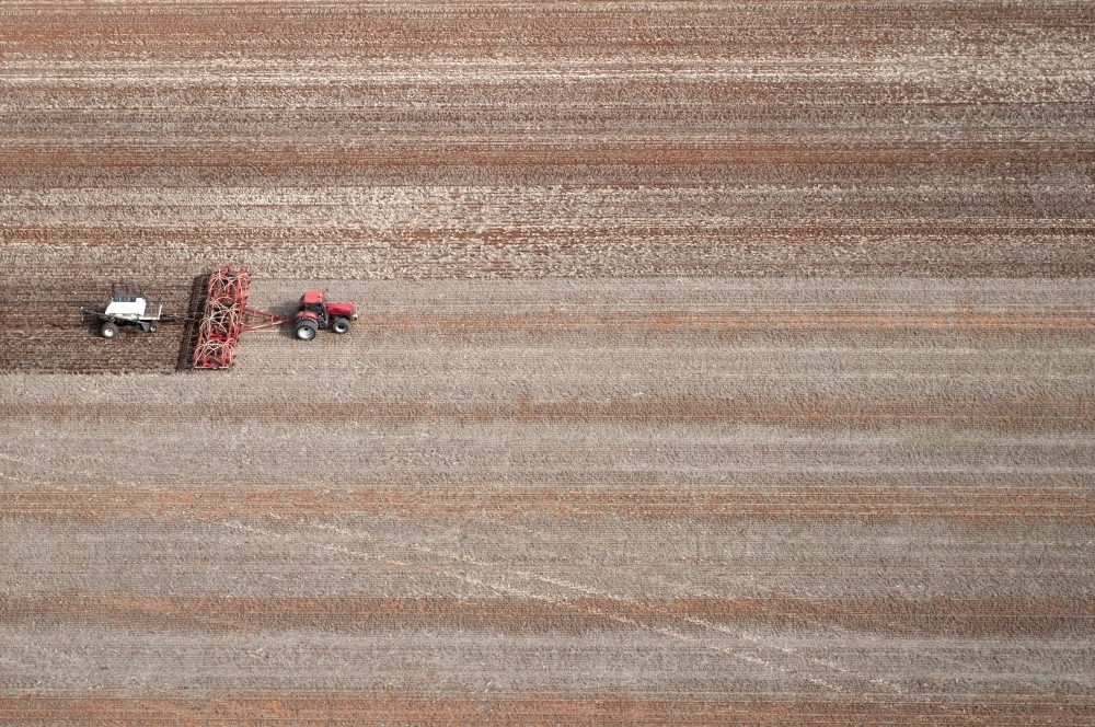Rural Outback Aerial Landscape With Tractor - Australian Stock Image