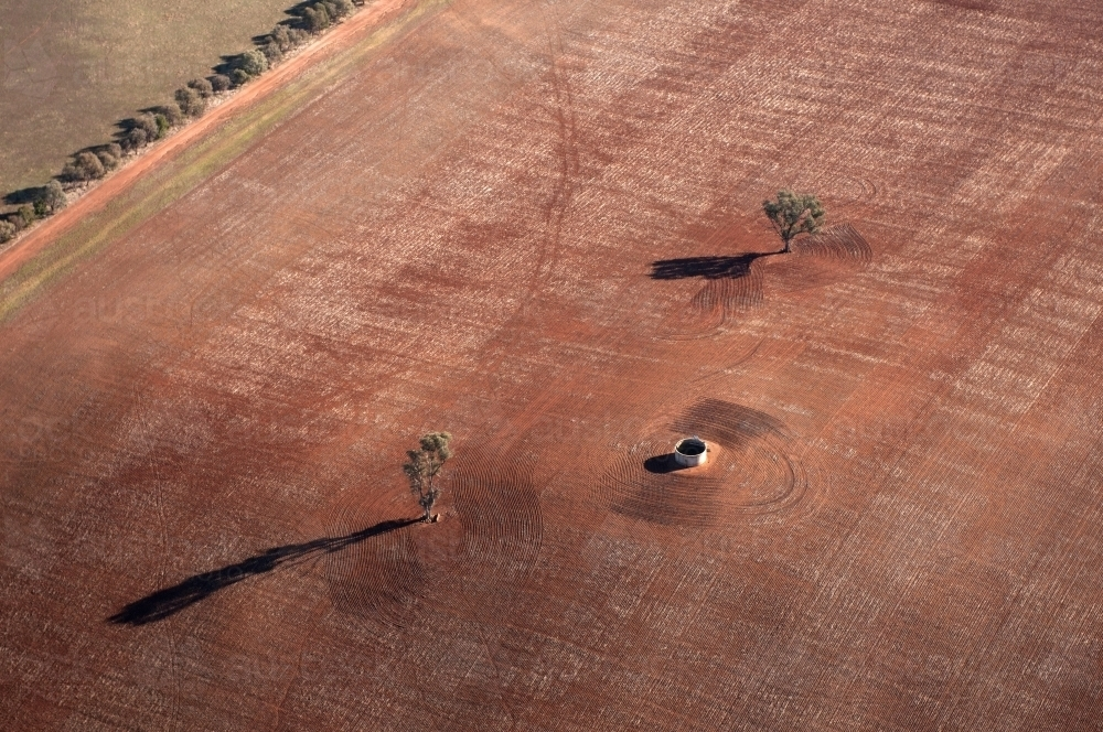 Rural Outback Aerial Landscape With Water Tank - Australian Stock Image