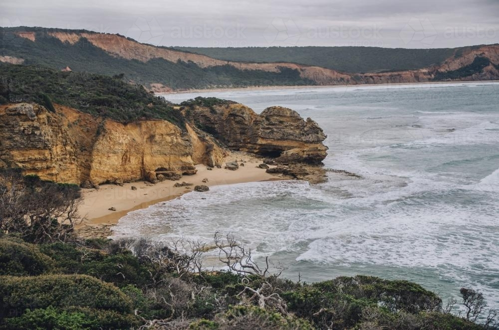 Seascape of cliffs, beach and sea along the Great Ocean Road - Australian Stock Image