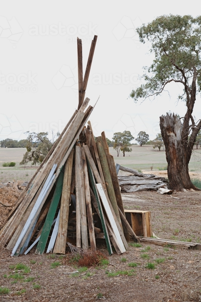 Setting up a bonfire - Australian Stock Image