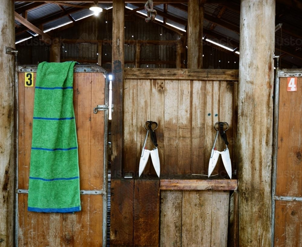 Shearing shed detail with vintage shears - Australian Stock Image