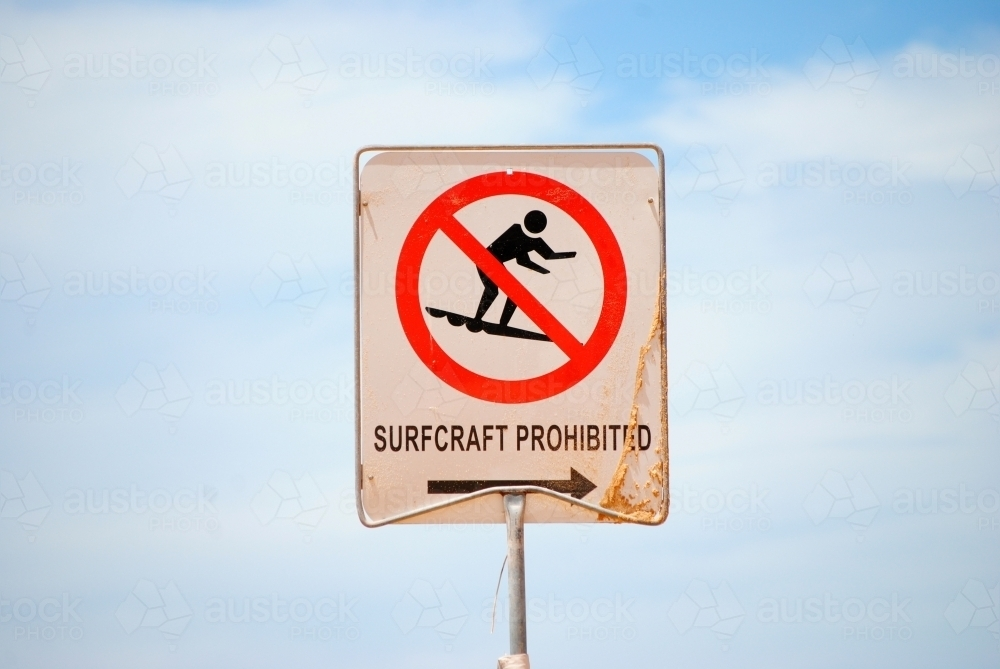 Sign at the beach proclaiming Surfcraft Prohibited - Australian Stock Image