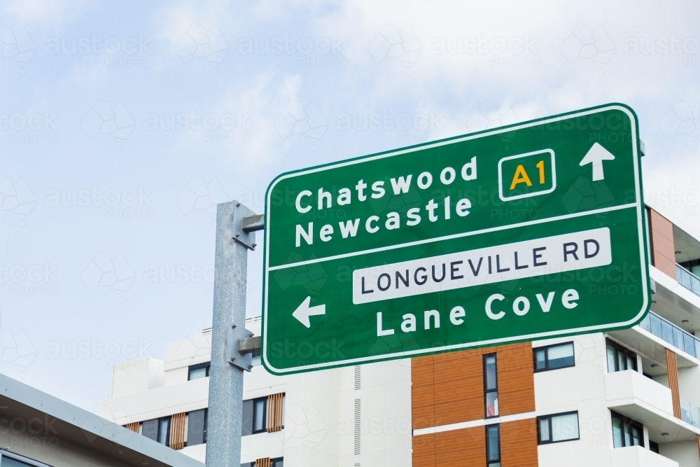 Sign in sydney pointing to A1 Chatswood Newcastle - Australian Stock Image
